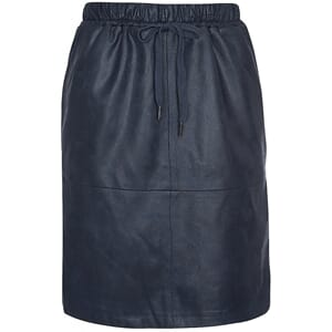 One Two Luxzuz Madeleine Coated Suede Skirt Dark Navy