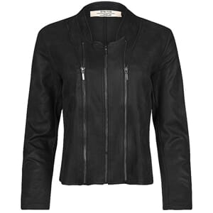 One Two Luxzuz Athena Coated Suede Jacket Black