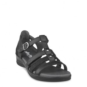 New Feet Sandal w Heel Counter Black Leather